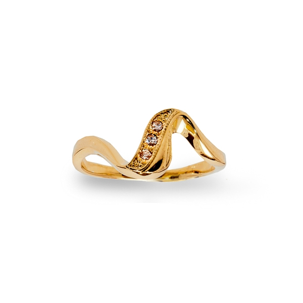 14K Gold Plated Small Crystal Wave Ring