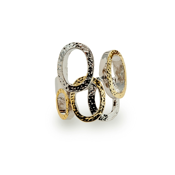 Two Tone Plated Circles Ring