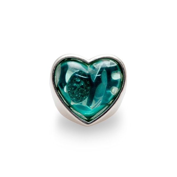 Rhodium Plated Blue Heart Ring