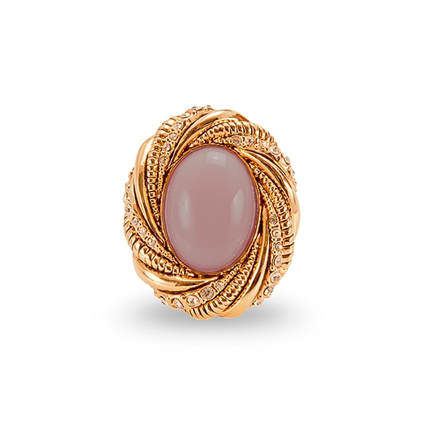 Rose Gold Plated Center Resin Stone and Crystal Ring