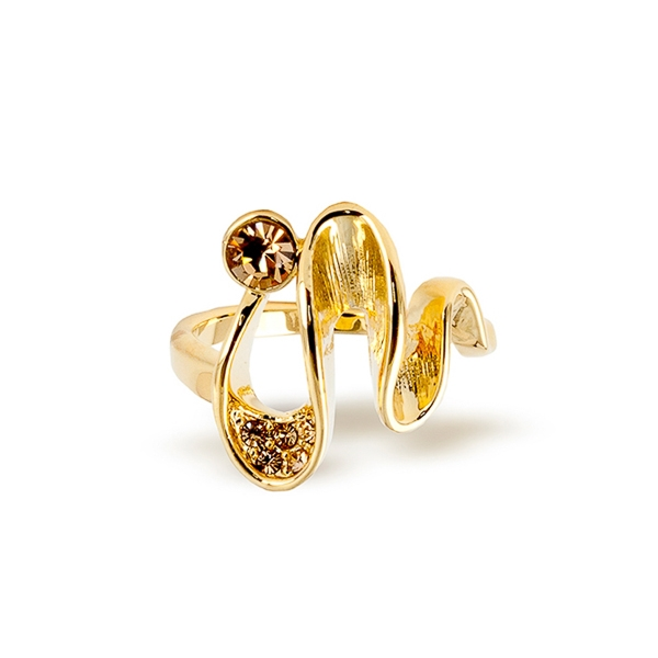 14K Gold Plated Topaz Crystal Wavy Ring