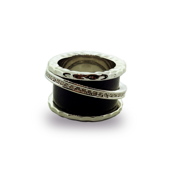 Rhodium Plated Floating Band and Black Leather Ring