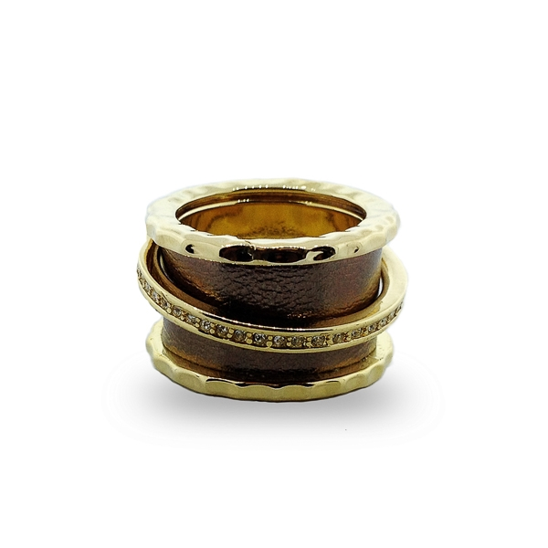 14K Gold Plated Floating Band and White Leather Ring