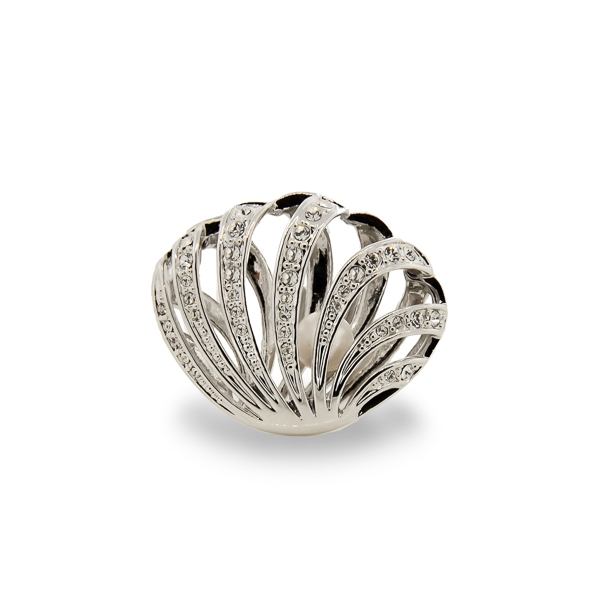 Rhodium Plated Open Clam Crystal and Glass Pearl Ring