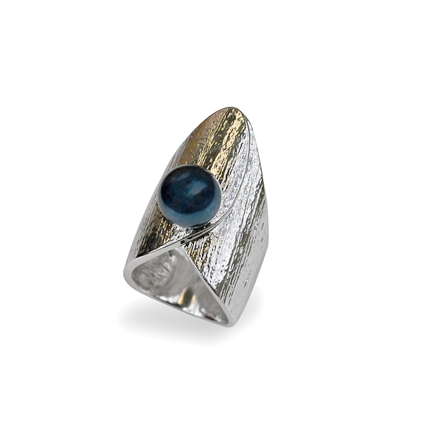 Rhodium Plated Textured Blue Pearl Ring