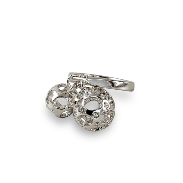 Rhodium Plated Barnacle Balls Ring