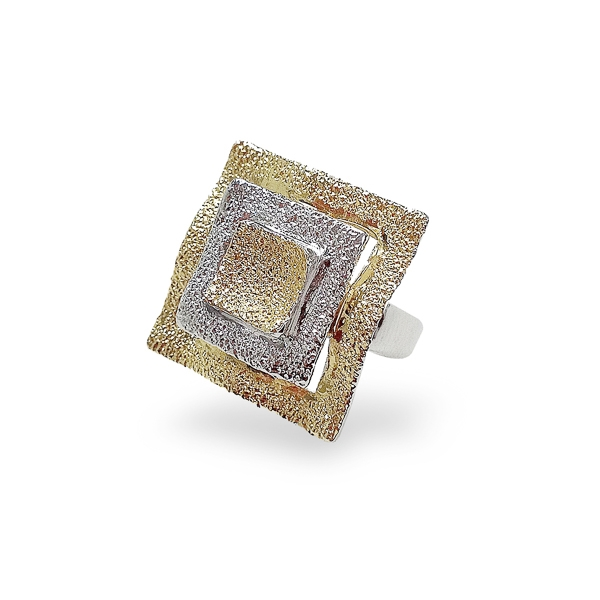 Two Tone Plated Square Textured Ring