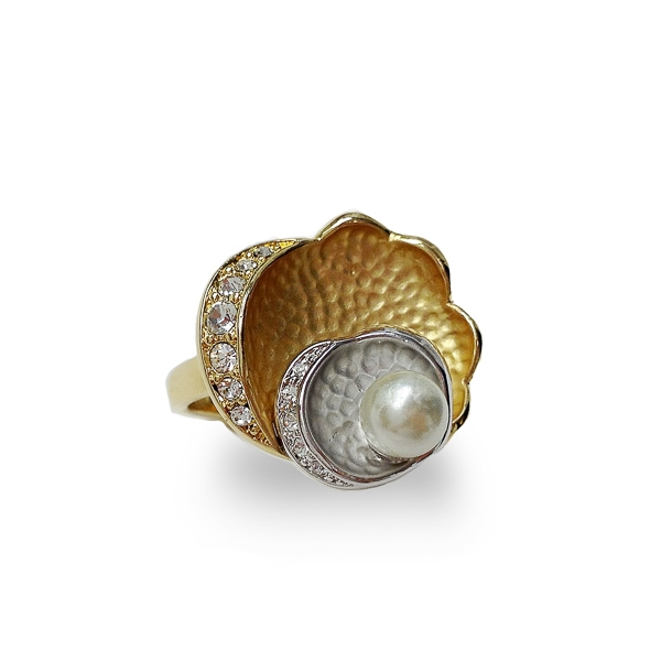 Two Tone Plated Clam Pearl Ring