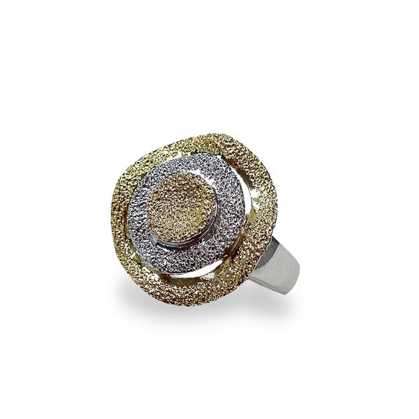Two Tone Plated Round Textured Ring