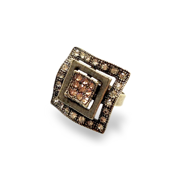 Oxidized Bronze Plated Square Crystal Ring