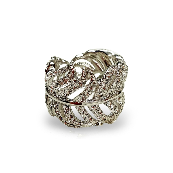 Rhodium Plated Crystal Feather Ring