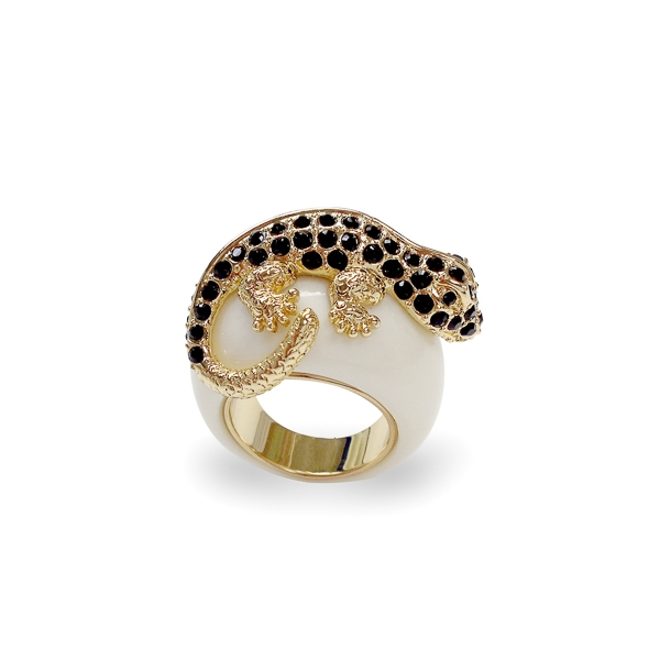 14K Gold Plated Black Crystal Lizard Ring