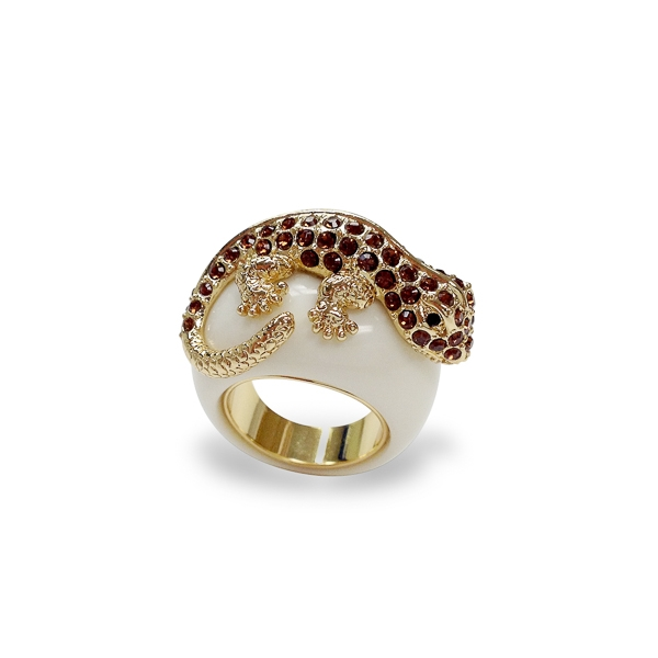 14K Gold Plated Topaz Crystal Lizard Ring