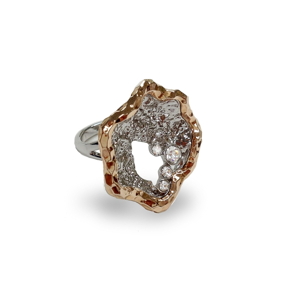 Two Tone Plated Textured Clam Ring