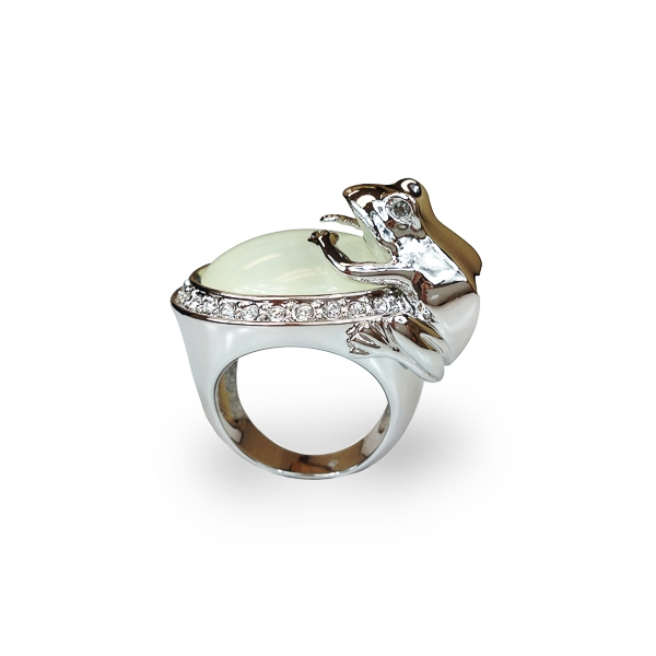 Rhodium Plated Resin Stone and Crystal Frog Ring