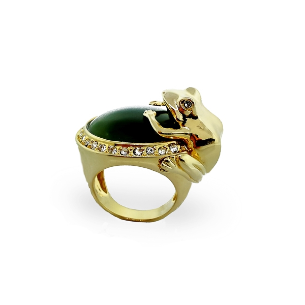 14K Gold Plated Resin Stone and Crystal Frog Ring