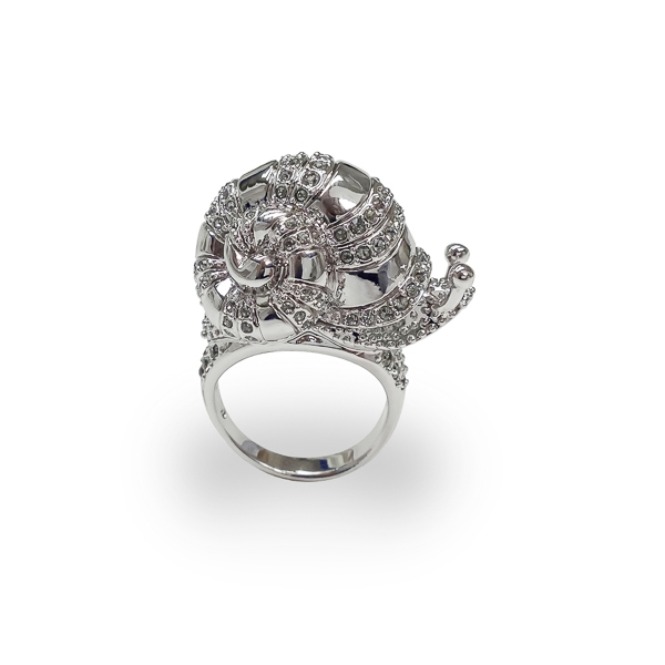 Rhodium Plated Crystal Snail Ring