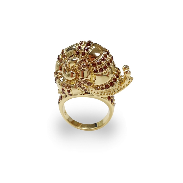 14K Gold Plated Crystal Snail Ring