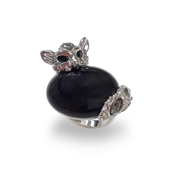 Rhodium Plated Glass Stone and Crystal Cat Ring