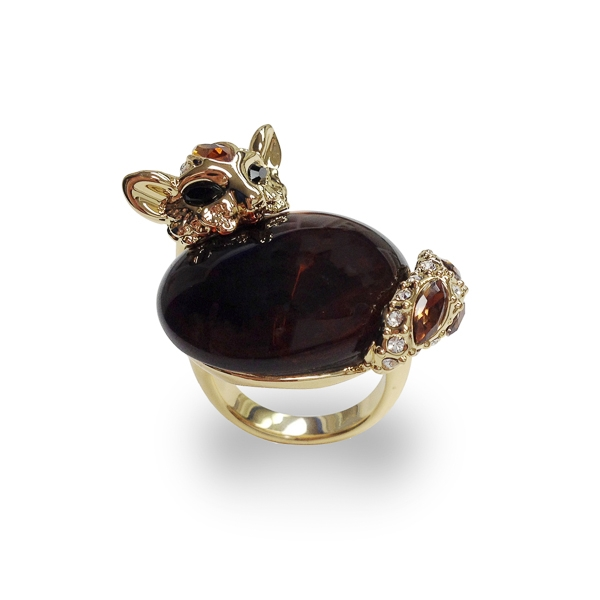 14K Gold Plated Glass Stone and Crystal Cat Ring