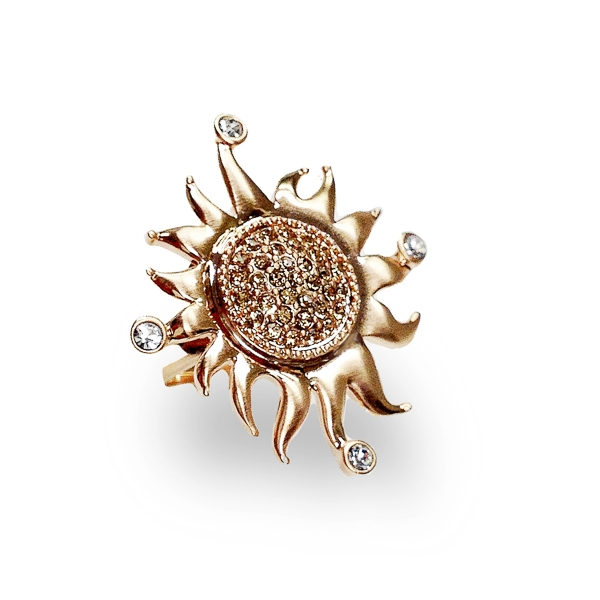 14K Gold Plated Topaz Crystal Sun Ring