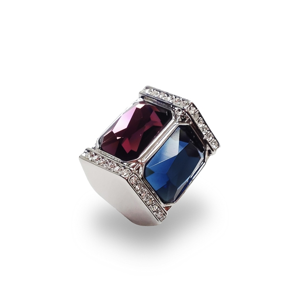 Rhodium Plated Glass Stones and Crystal Statement Ring
