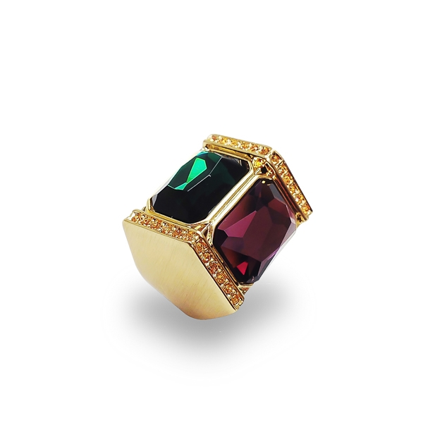 14K Gold Plated Glass Stones and Crystal Statement Ring