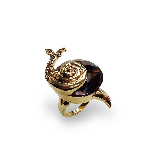 14K Gold Plated Glass Stone and Crystal Snail Ring