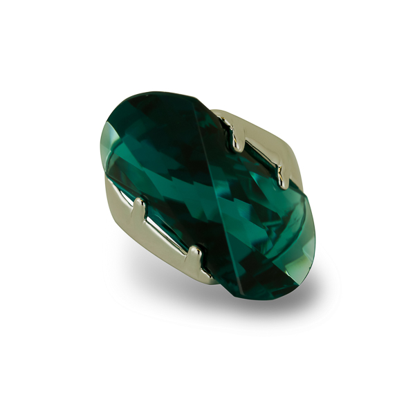 Rhodium Plated Green Wave Cut Glass Stone Ring