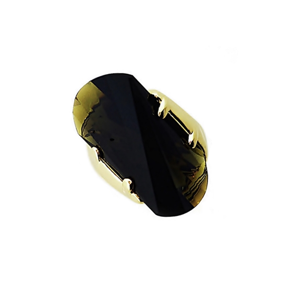 14K Gold Plated Olive Wave Cut Glass Stone Ring
