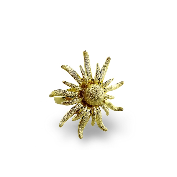 14K Gold Plated Textured Star Ring