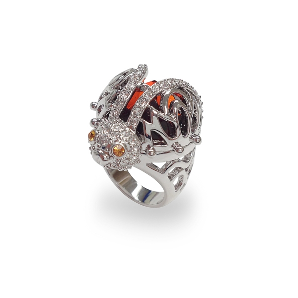 Rhodium Plated Ladybug Ring