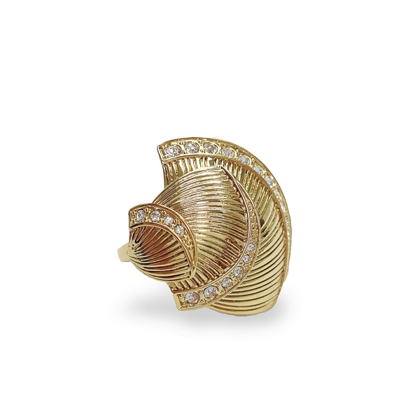 14K Gold Plated Crystal Seashells Ring