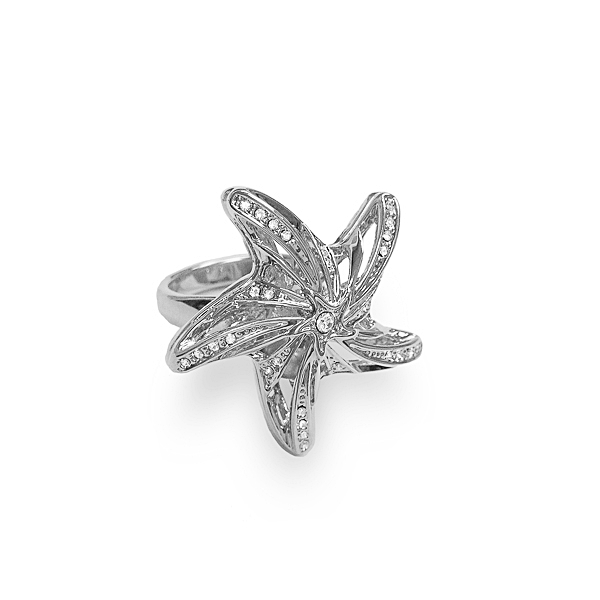 Rhodium Plated Crystal and Pearl Starfish Ring