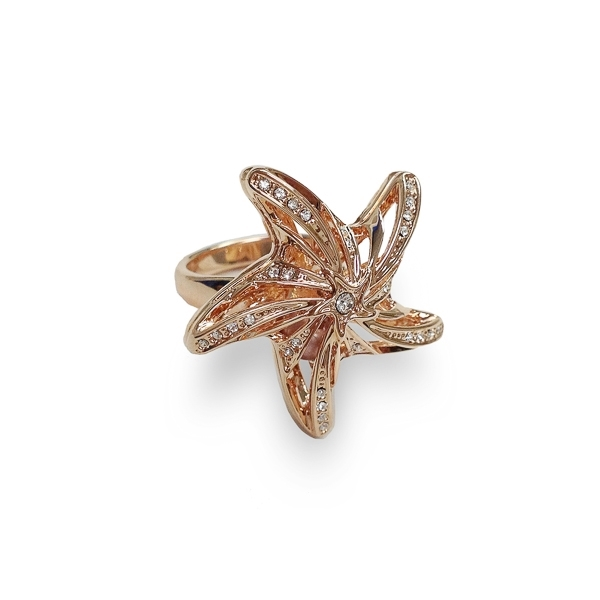 Rose Gold Plated Crystal and Pearl Starfish Ring