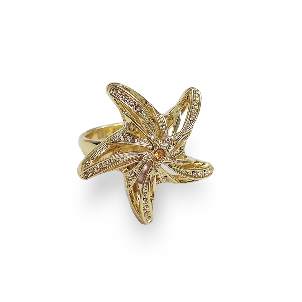 14K Gold Plated Crystal and Pearl Starfish Ring