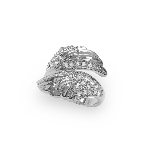 Rhodium Plated Crystal Wings Ring