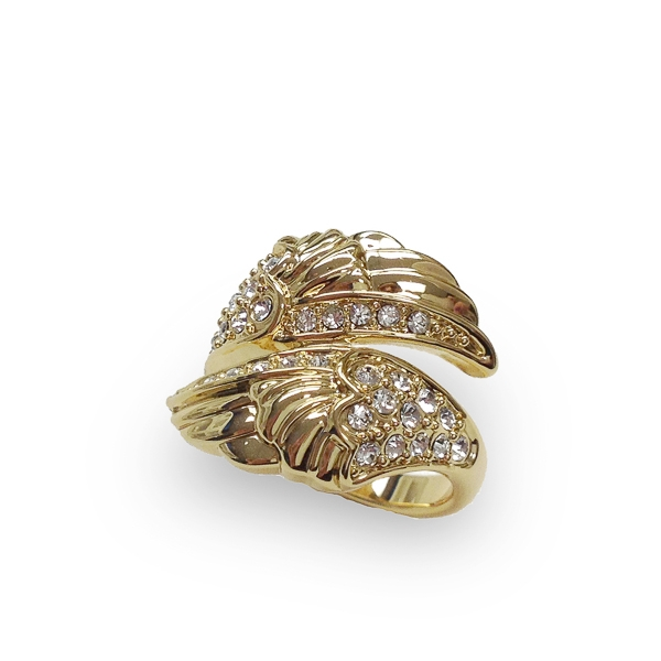14K Gold Plated Crystal Wings Ring