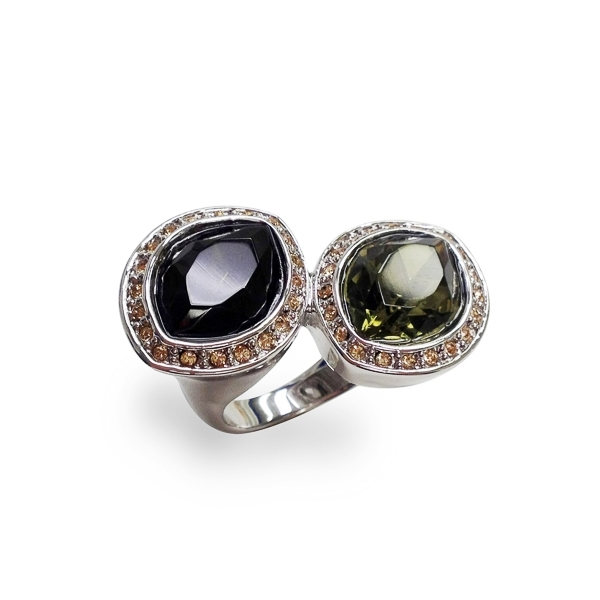 Rhodium Plated Twin Glass Stones Ring