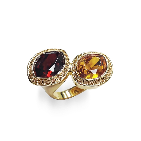 14K Gold Plated Twin Glass Stones Ring