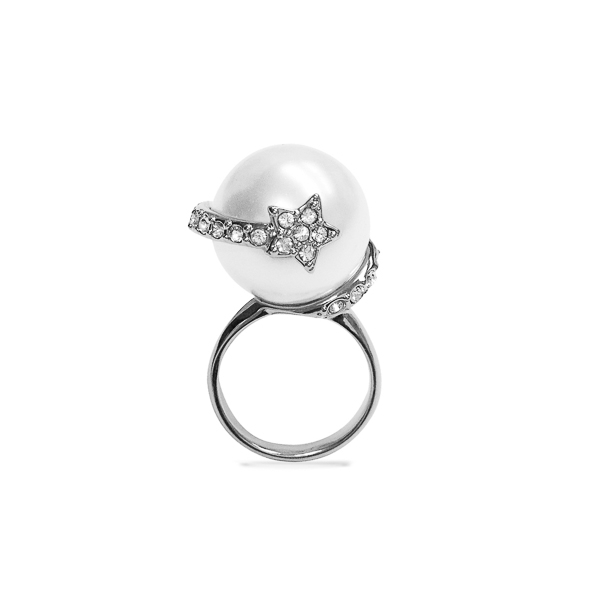 Rhodium Plated Pearl and Star Ring