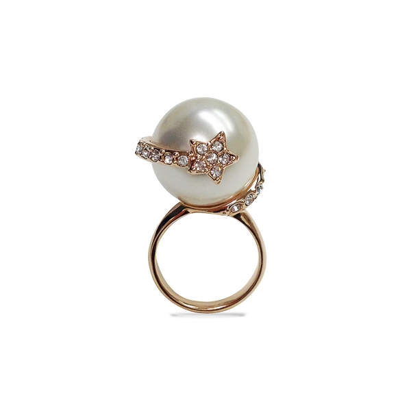Rose Gold Plated Pearl and Star Ring