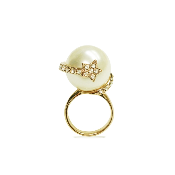 14K Gold Plated Pearl and Star Ring