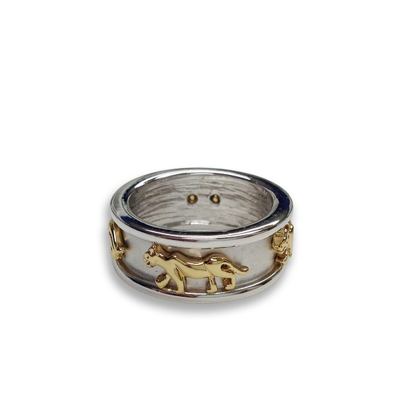 Two Tone Plated Gold Tiger Pattern Ring