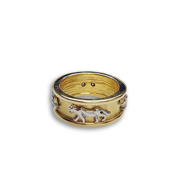 Two Tone Plated Rhodium Tiger Pattern Ring