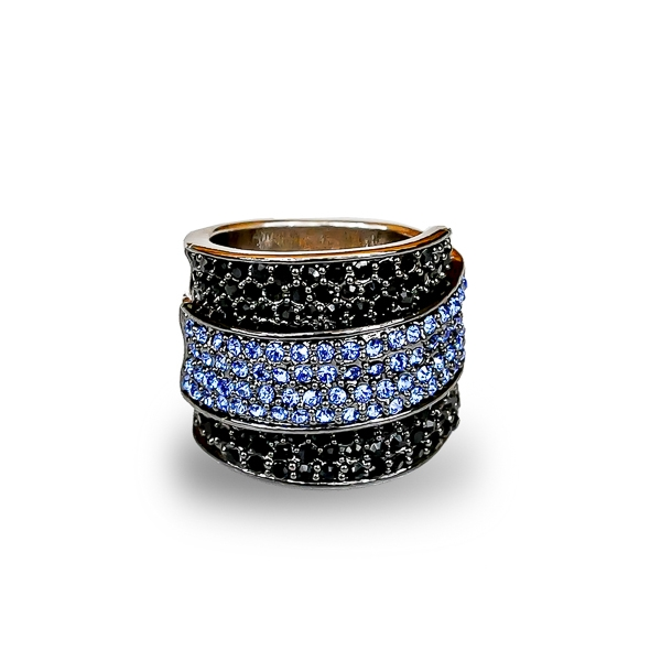 Black Rhodium and Rhodium Plated Crystal River Ring