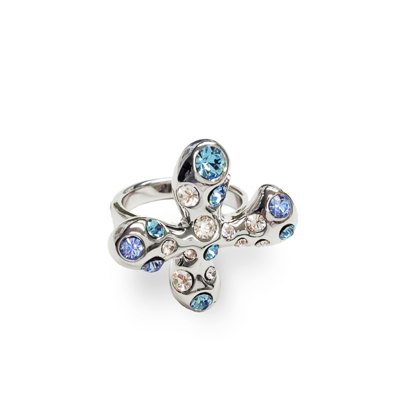 Rhodium Plated Aqua Crystal Plus Ring
