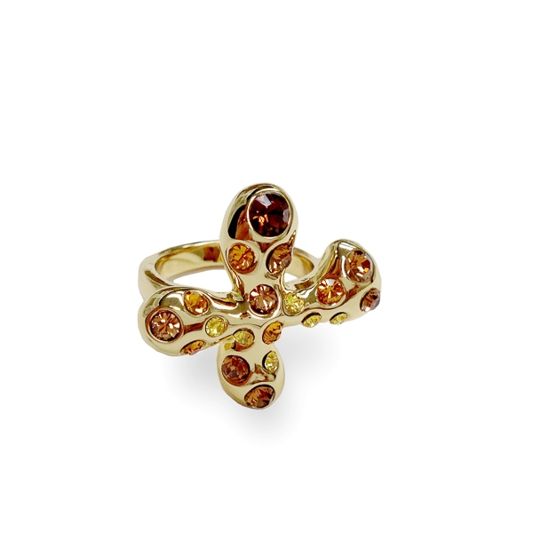 14K Gold Plated Topaz Crystal Plus Ring