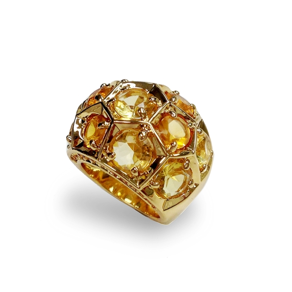 14K Gold Plated Honeycomb Ring