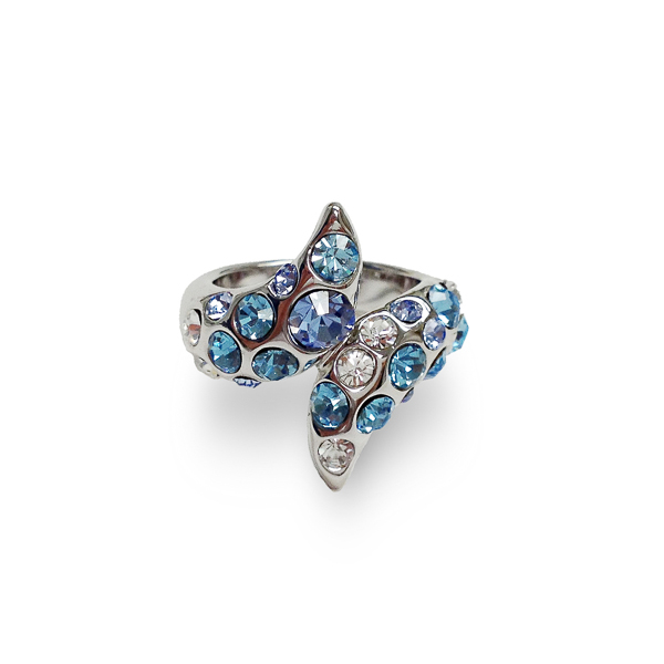 Rhodium Plated Aqua Crystal Wrap Ring